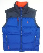 NEW POLO RALPH LAUREN SAPHIRE STAR BLUE ORANGE PUFFER TREK JACKET VEST SIZE L