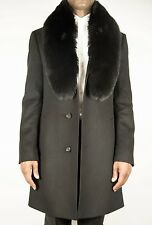 Men's Top Coat in Black with Real Fox Fur in Black