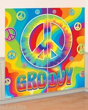 FEELING GROOVY 60'S 70'S HIPPIE PEACE SIGN SCENE SETTER PARTY WALL DECORATION