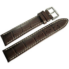 20mm Hirsch Modena Mens Brown Alligator-Grain Leather Watch Band Strap