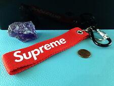 1 Strap Keychain SUPREME Logo KEYRING Carabiner Key Fob Wrist Pants Backpack Bag