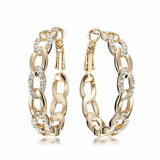 18K GOLD Filled Women Diamonds Round Hoop Pierced Earring USGM039A1