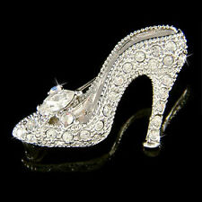 w Swarovski Crystal ~Cinderella Glass Slippers~ High Heel shoes Fairy Pin Brooch