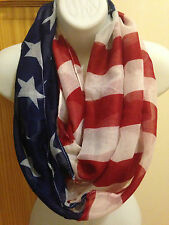 NEW USA American Flag White Red Blue Star Stripe Patriotic Circle Infinity Scarf