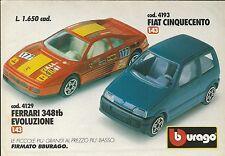 X1197 BBURAGO - FERRARI 348tb Evoluzione - FIAT Cinquecento - Pubblicità 1992