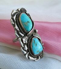 Large old pawn Navajo two stone turquoise sterling funky ring sz 9 hallmark