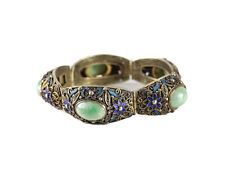 Chinese Gilt Sterling Silver Filigree Jade Jadeite and Enamel Bracelet