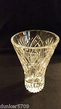 CRYSTAL VASE - STARS, PINWHEEL, FAN DESIGNS - 6 IN HIGH BY 3 3/4 IN OPENING