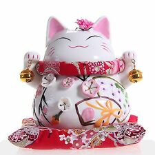 Maneki Neko - Japanese Porcelain Lucky Cat with Bells - Feng Shui Charm Piggy...