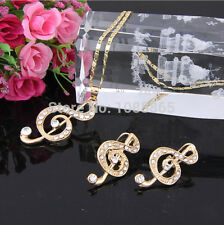 Jewelry Sets 18 GP Swarovski Element Crystal Musical Note Necklaces Earrings Set