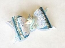"Handmade Ice blue glitter/leatherette unicorn bows girls 4"" hair clip alligator"