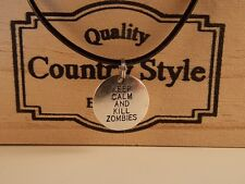 KEEP CALM AND KILL ZOMBIES Walking Dead Inspired pendant cord necklace 46 cm