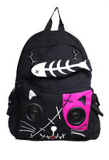 Black And Pink Kitty Speakers Plug & Play Music BagPack By Banned Apparel
