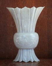 Fine Chinese Light Grey Hardstone Vase, maybe Jade or Aventurine