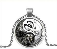Vintage Gear Yin Yang Tai Chi Cabochon Silver Glass Chain Pendant Necklace NEW69
