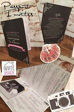 50 Personalised Vintage Shabby Chic Wedding Passport Photo  Invitations!