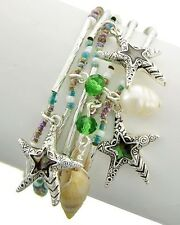 ICON Silver Green Seed Bead Abalone Starfish CHARMS Stretch Bracelet Set 5 NWT