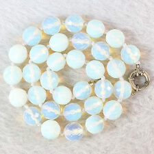 Popular 8mm Round Faceted Sri Lanka Moonstone Gemstone Necklace 18 ''AAA05