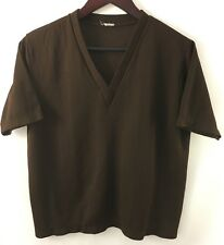 Vtg 80's Mens V-Neck Sweater Knit Cable Lightweight S Acrylic S/S Brown