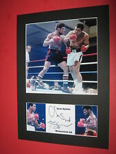 MUHAMMAD ALI & LEON SPINKS BOXING A4 PHOTO MOUNT SIGNED REPRINT AUTOGRAPHS