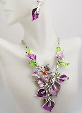 "Joan Rivers Calla Lily & Butterfly Necklace & Earrings Set PIERCED  17"" 3"" ext.L"