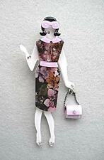 Multi Colour Floral Lucite & Crystal Lady With Lilac Handbag Brooch