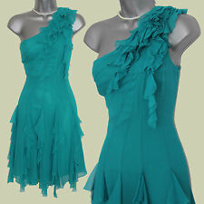 NWT Karen Millen Turquoise(Green/Blue)Silk Ruffle One Shoulder Dress sz-10 £160