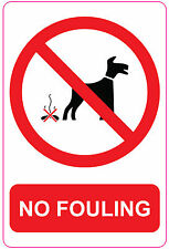 NO FOULING - DOG - Sign/Sticker/Vinyl - 150mm x 100mm - Dog Dirt / Clean It Up.