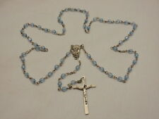 Rosary Blue Faceted Beads Catholic Prayer Silver Crucifix Cross 1st Communion