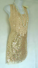 Nude 20 Gatsby Charleston look vintage de perles sequins tambour taille robe 12/14