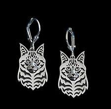 Maine Coon Cat Earrings -  Fashion Jewellery - Silver Plated, Leverback Hook