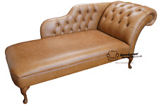 Chesterfield Leather Chaise Lounge Loungue Day Bed Old English Tan Light Brown
