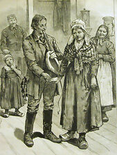 Farmer comes to NYC Looking for a Wife MARRIAGE LOVE 1884 Antique Print Matted