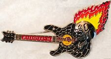Hard Rock Cafe BANGKOK 1996 HALLOWEEN PIN Flaming Skull Black Guitar - HRC #951