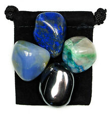 ACTIVE LISTENING Tumbled Crystal Healing Set = 4 Stones + Pouch + Card