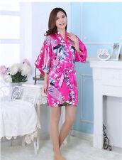 Silk Short/long Wedding Bride Bridesmaid Robe Women Floral Bathrobe Kimono Robe