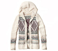NEW HOLLISTER WOMENS HOODED ZIP UP SWEATER KNIT TOP CARDIGAN HOODIE JACKET SZ XS