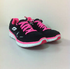 NEW SKECHERS FLEX SOLE LIGHTWEIGHT RUNNING TRAINING SHOES BLACK PINK 8.5 39