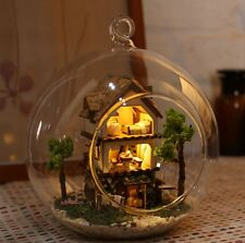 DIY Mini Wooden Dollhouse Miniature Kit w/ LED and Voice control Forest Island