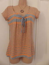 White Stuff UK 8 orange and grey striped top with short sleeves and ribbon tie