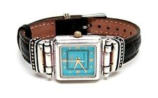 ECCLISSI Sterling Silver TURQUOISE DIAL 22490 Leather Band LADIES Watch