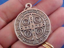 "Large St BENEDICT Medal Protection Excorism's Saint Medal 1-1/4"" across oxidized"