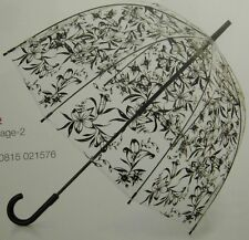 FULTON- BIRDCAGE-2 CLEAR BUBBLE DOME WITH BLACK LILIES MANUAL STICK UMBRELLA-NWT