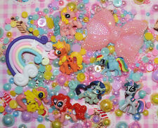 250pcs 7 Little Pony Clay Rainbow & Bow PHONE CASE DIY Kit Cabochon Mixed Pearls