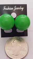 Extra Large Neon Florescent Green Color Ball Pearl Stud Post Earrings Ships Now