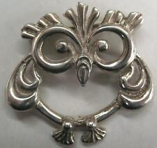 FABULOUS 1 OF A KIND MODERNIST ARTISAN STERLING UNIQUE OWL PIN BROOCH SIGNED