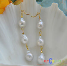 p3471 13MM WHITE ALMOST ROUND KESHI REBORN PEARL DANGLE EARRING 14K