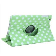 Green 360 Degree Rotating Polka Dot Leather Case Cover Skin for Apple iPad Mini
