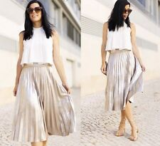 ZARA Light Silver Metallic Accordion Pleat Skirt M BNWT REF: 2969 249 BLOGGERS !
