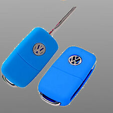New Silicone Car Key Cover for VW polo passat jetta Golf Cross Fox Plus Blue
